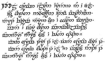 Three Rings For The Elven Kings Poem In Elvish